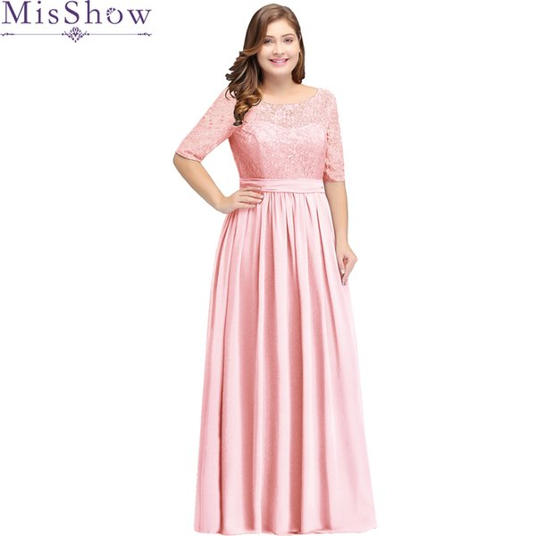 Pink Long Bridesmaid Dresses Plus Size 22W 24W 26W 2019 Vestido Longo Scoop  Neck Wedding Party Gowns Cheap Women Bridesmaid Young Bridesmaid Dresses ...