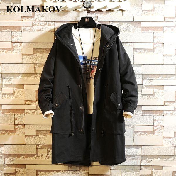 KOLMAKOV New 2019 Men's Trench Coats Spring Casual Long Jackets Coats Men Wear-resisting Black Windbreakers Mans Overcoats M-5XL