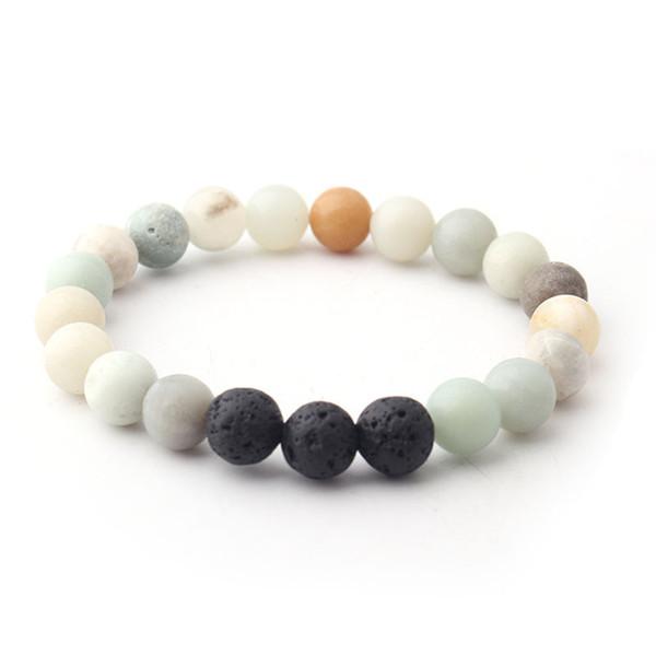 8MM Matted Amazon Stone Black Lava Stone Beads Bracelet Volcano Rock DIY Essential Oil Diffuser Bracelet Jewelry