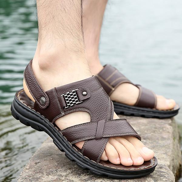 Gelgit Köpekbalığı Yaz erkek Ayakkabıları, Gerçek Deri Plaj Ayakkabıları, Eğlence Kalın Alt ve kaymaz Çift amaçlı Yaz erkek Sandalet