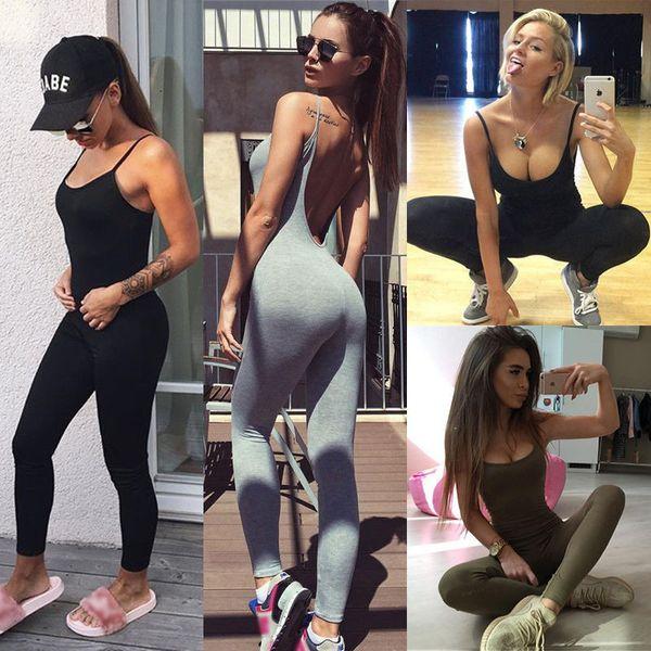 Vestiti delle donne Estate Yoga Tute Tinta unita Sottile Fitness Palestra pagliaccetti tinta unita
