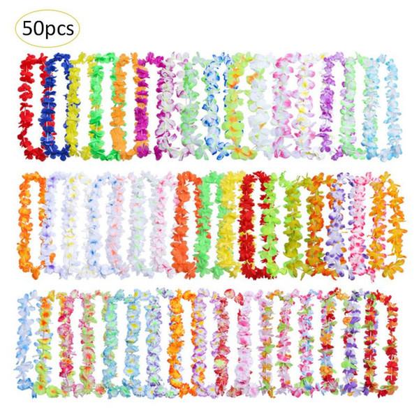 50pcs/lot Hawaiian leis Garland Artificial necklace Hawaii Christmas Flowers leis Party Supplies Beach Fun wreath DIY 36 colors gift Decor