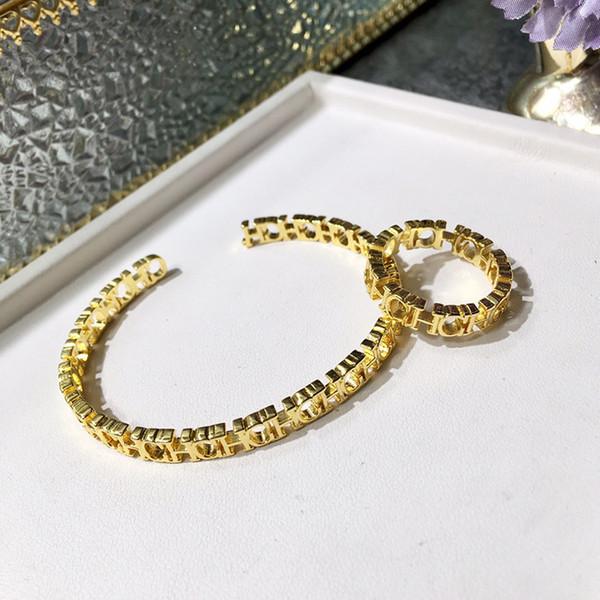 UHotstore Accessori moda mediorientale Bracciale aperto da donna in rame placcato stretto lucido CHC lettera bracciale aperto anello interno 5.6CM