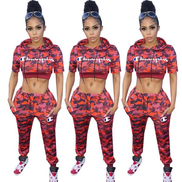 Femmes Champions Lettre Survêtement Camouflage Survêtement À Manches Courtes Pantalon À Capuche Outfit 2 Pièces Set CHAMPI Sportswear Jogger Vêtements Costume nouveau C3282