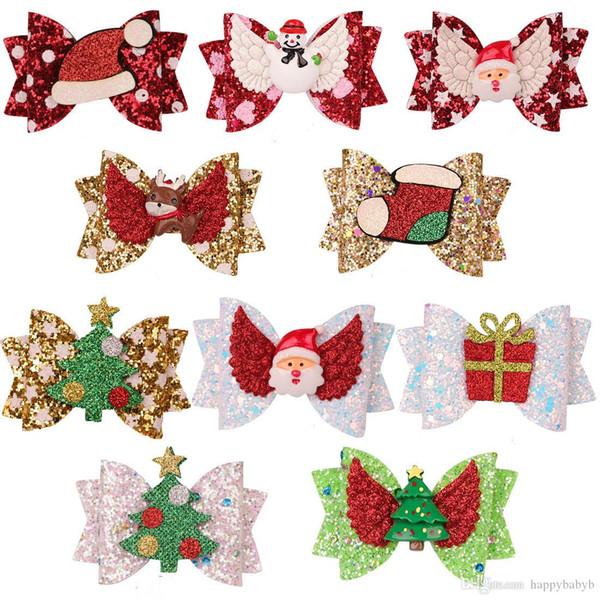 Natale neonate forcine glitter Nastro per capelli accessori per capelli Barrettes bambini bambini Babbo Natale clip pupazzo di neve dei capelli dei capretti copricapo