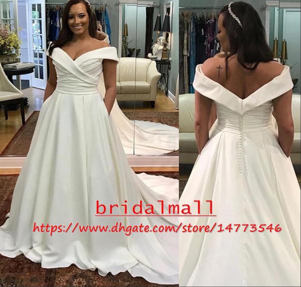 Off-Shoulder 2019 Plus Size Wedding Dresses With Pockets Boat Neck Ivory Pleats Satin Boho Beach Bridal Gowns Zipper Back Robe De Mariee