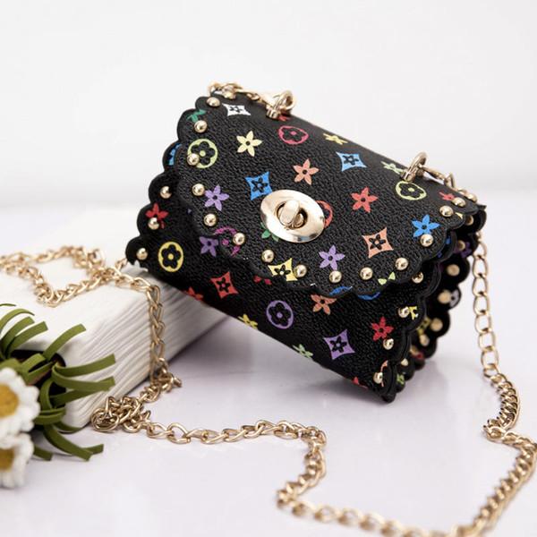 Fashion Kids Handbags Mini Baby Girls Metal Chain PU Leather Messenger Bags Coin Purse Wallet Children Princess Party Bag