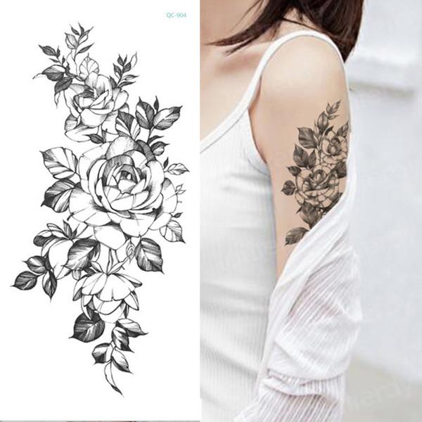 Временные татуировки стикер цветок пиона роза эскизы татуировки сексуальные девушки модель татуировки рука ноги черные наклейки хна женщины SH190729