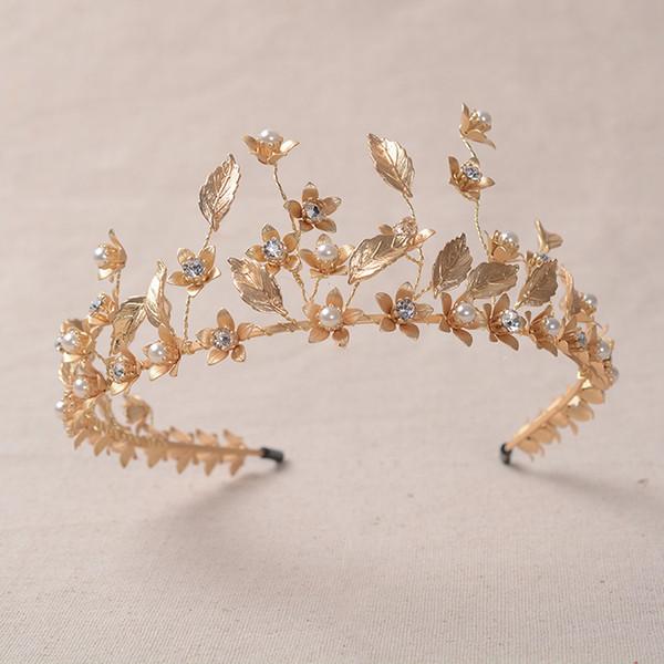 Großhandel Le Liin Goldblumenstirnband Goldene Hochzeit Haarschmuck Braut Kopfschmuck Perle Haarschmuck Tiaras Und Kronen Von Maocai 4621 Auf