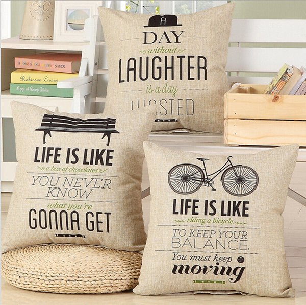 Page One Vintage Bicycle Christmas Cat Linen Cotton Square Pillowcase Cushion Cover Home Decor Gift One-sided Printing Pillow Case