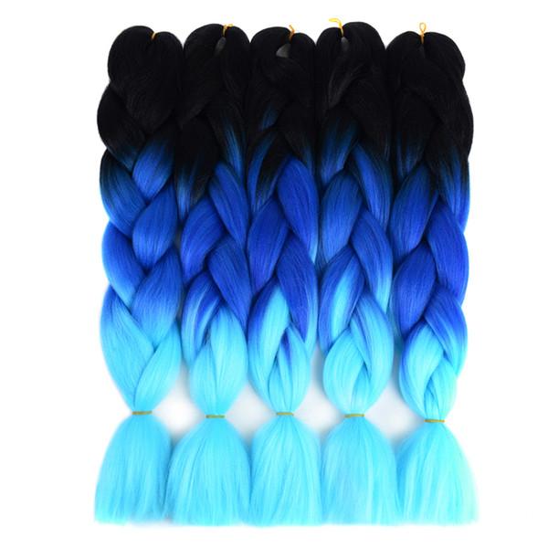 Treccia sintetica intrecciata dei capelli dell'uncinetto dei tre toni Tono treccia 24 pollici / pakc Kanekalon intrecciatura dei capelli oltre 15 colori intrecciatura dei capelli di Xpression