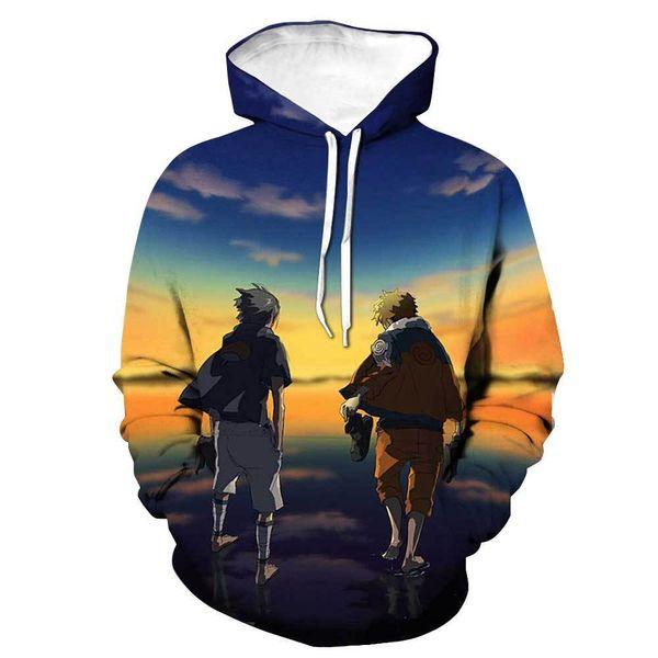 2019 venta caliente Nuevo personaje de impresión 3D anime Naruto con capucha con cordón suéter de la moda suéter de bolsillo parche suelto