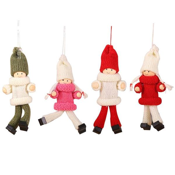 Nouvel an Noël Ange Fille Garçon En Peluche Poupées Arbre De Noël Suspendus Ornement Pendentif Parti Décorations De Noël pour La Maison Enfants Cadeau