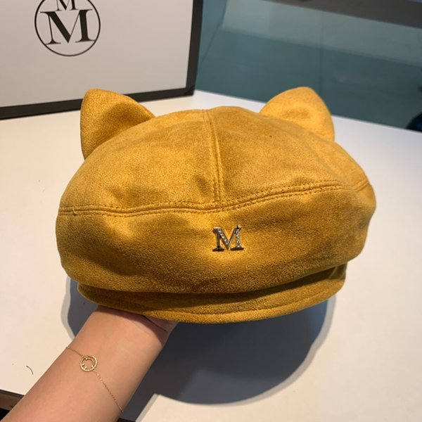 2019 Womens Hat Beret Female Wool Cotton Blend Fashion Cat Ears Luxury Designer Beret Black Cap Autumn Brand New Woman Caps Foldable smart_k