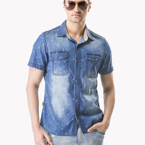 bb1a4576b0c Summer Denim Shirt Men Short Sleeve Turn-down Collar Jeans Shirt Male Print  Casual Loose