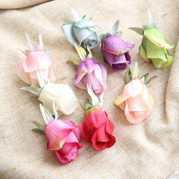 10 Pçs / lote 4.5 CM Artificial Silk Rose bud Flores Heads Simulação Rose Buds Home Decor Decoração de Casamento DIY rose bud cabeça