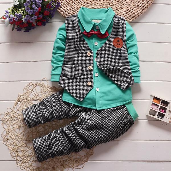 good quality autumn baby boys clothing set gentleman outfits infant tracksuit 3pcs plaid t-shirt+pants+vest sets bebe sport suit