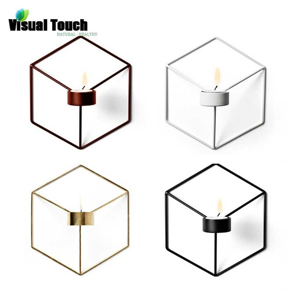 Visual Touch Europe Nordic Style 3D Geometric Candlestick Metal Wall Candle Holder Sconce Matching Small Tealight Home Ornaments