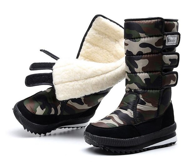 2019 popular winter classic middle and long snow boots brand popular pure cotton fashion men's women's Waterproof anti-skid boots