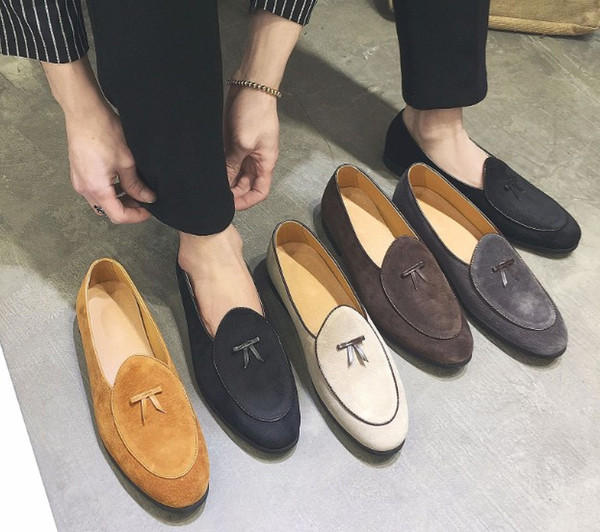 Classic Men Dress Shoes Loafer Dressing Flats With Leather Sole, Home Made Fashion Casual Shoes for Wedding Party Size 37-48