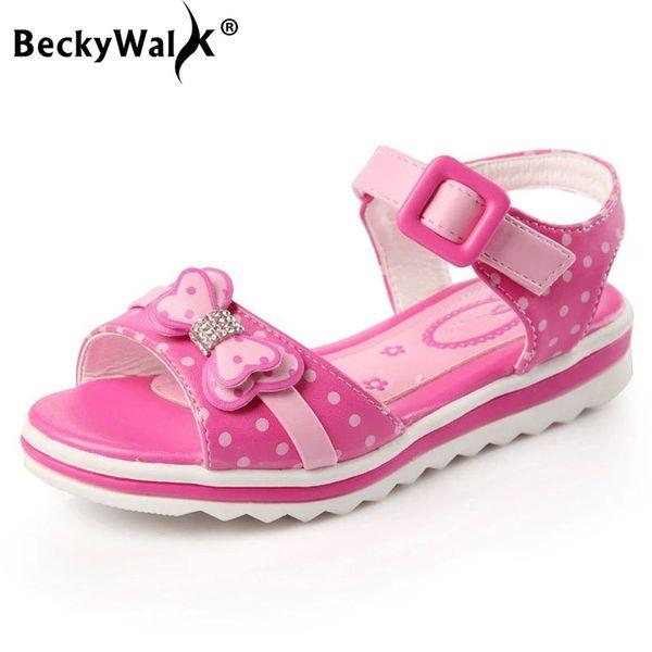Beckywalk Fashion Girls Sandalias Zapatos de Princesa de Verano Bowknot Punta Abierta Sandalias de Los Niños Para Zapatos de Muchacha Zapatos de Estudiante Csh669 MX190726