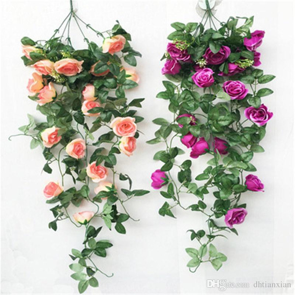 Simulation Rose Wall Hanging Flower Cane Hanging Orchid Flower Hanging Basket Balcony Home Wall Decoration Photo Prop Flowers