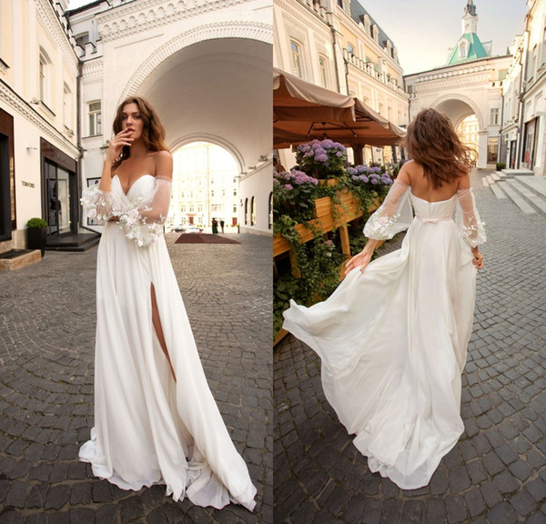 2019 Chiffon Beach Wedding Dresses with Removable Lace Applique Long Sleeve Boho Wedding Dress Sweetheart Thigh High Slits robe de mariée