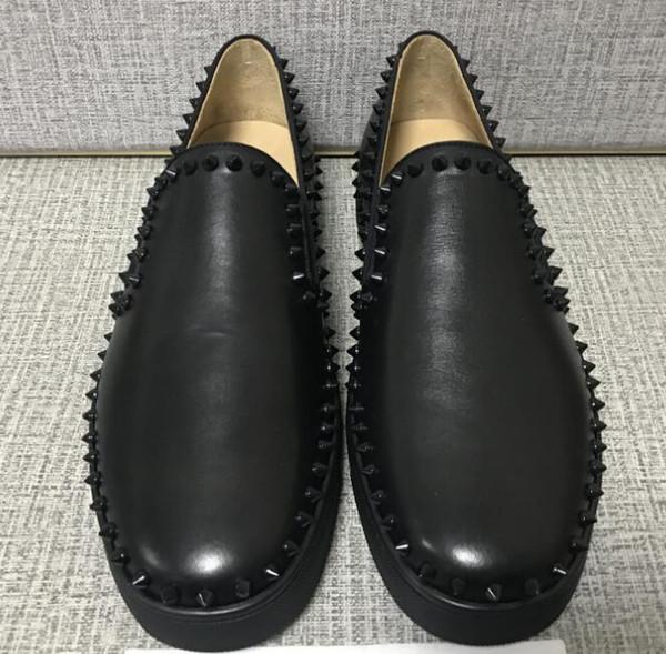 2019 mais barato caixa original de Luxo Vermelho Fundo Sapatos Homens, sola Vermelha Mulheres de Couro Genuíno Andando Sapatos Baixos, High Top Sneaker Sapatos Casuais partido