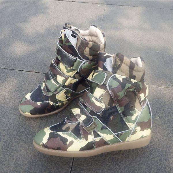 2019 Zapatos de mujer altos Gancho de bucle Mujeres Cuero genuino Talón Lifed Zapatillas de deporte Botines casuales Cuña de las mujeres Botas cortas Zapatos para correr