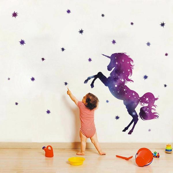 Yeni Varış 45 * 27 cm Fantezi Unicorn Duvar Kağıdı Hayvan Karikatür Yıldız Diy Çocuklar Yatak Odası Süslemeleri Anaokulu Kreş Ev Deko ...