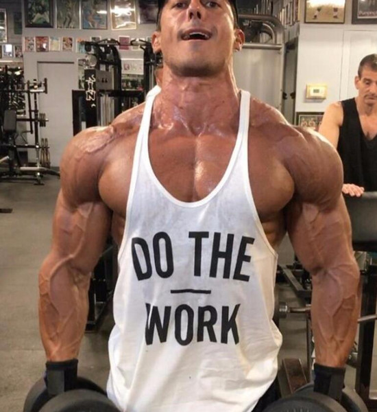 Letter Printing DO THE WORK Tank Top Men Bodybuilding Clothing and Fitness Mens Sleeveless Shirt Sports Vests Cotton Singlets