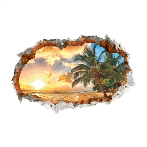 3D Broken Wall Decor Sunshine Beach Wall Stickers for Kids Rooms Home Decor DIY Scenery Poster Mural Wallpaper PVC Wall Decals