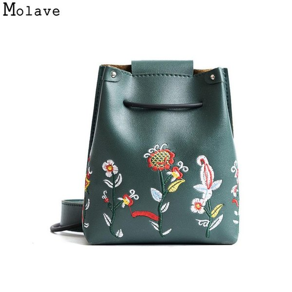 Cheap Naivety PU Leather Women Handbag Retro Flower Embroidery Bucket Bag Simple Floral Crossbody Shoulder Purse 28S7831 drop shipping