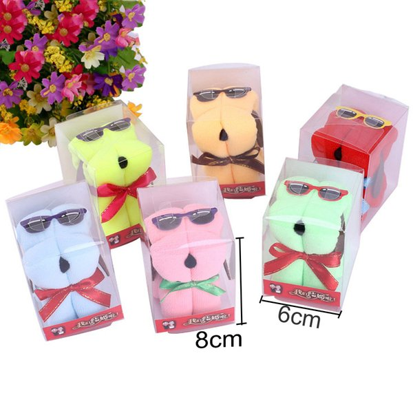20*20cm Cotton Towel Festival Wedding Gift Promotion Gift Cartoon Cute Dog Shaped Solid Color Microfiber Towels With PVC Box DH0928
