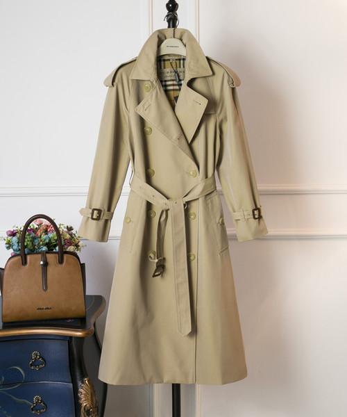 De gama alta a estrenar otoño e invierno ropa de mujer gabadian impermeable larga zanja delgada delgada fila doble hebilla abrigo de moda