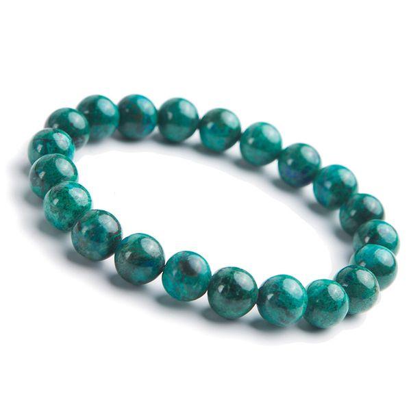 Natürliche grüne Malachit Chrysokoll Stretch Edelstein Runde Perlen Naturstein Frau Armband 9,5 mm