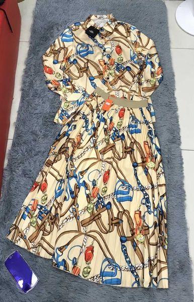 Платье-костюм летняя Европа и Америка летняя женская повседневная с принтом модная женская юбка комплект 2019