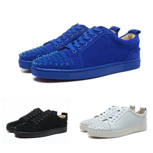 2019 Designer Shoes lace up Leather low cut Spike shoes suedue sneakers white bottom for men Sneakers With box Dust bag