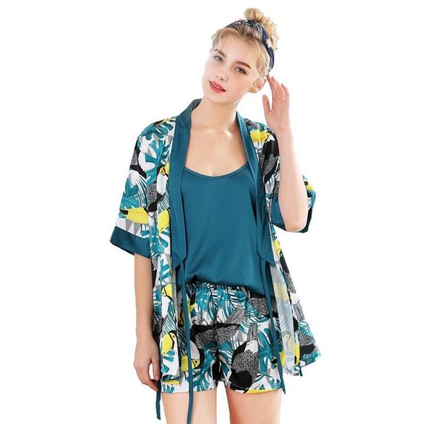 Women Silk Pajamas Sets 3 Pieces Fashion Strap Tops Satin Sleepwear Female Stripes Long Sleeve Home Clothing Pijama