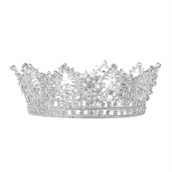 Full Circle Crystal Queen Braut Haarschmuck Diadem Hochzeit Brautjungfer Haarschmuck Luxus Braidal Gold Metall Tiara und Krone