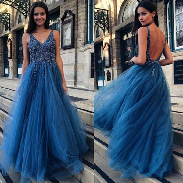 Sexy Open Back Straps Prom Dresses A Line Top Glitter Silver Sequins Beaded Blue Tulle Skirt Sparkly Evening Party Gowns Junior Dress 2019