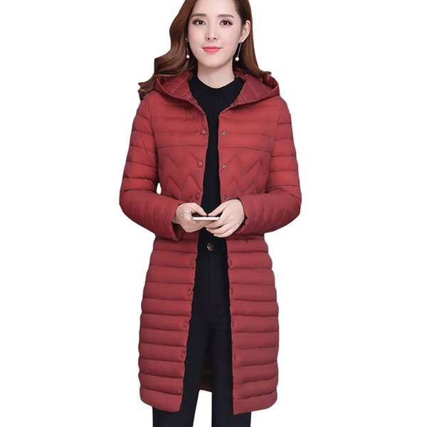 winter Fashion wild Thin section long-sleeved hooded Women clothing cotton-padded jacket slim Medium length coat