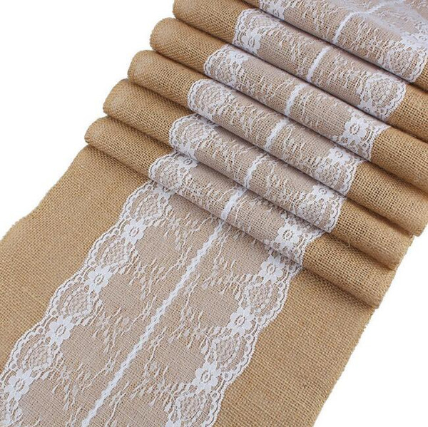 Vintage Natural Burlap Jute Linen Lace Table Runner Christmas Wedding Party Champagne Table Runners Dining Room Restaurant Table Gadget