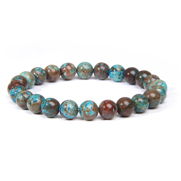 natural brazil sapphires bracelets women 8 mm polished gem stone chakra bucket-beads yoga prayer bangle for men fashion jewelry