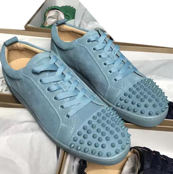 2019 модные черные замшевые металлические шипы с шипами повседневная обувь для мужчин и женщин низкие кеды с мягким низом, натуральная кожа размер: 35-46