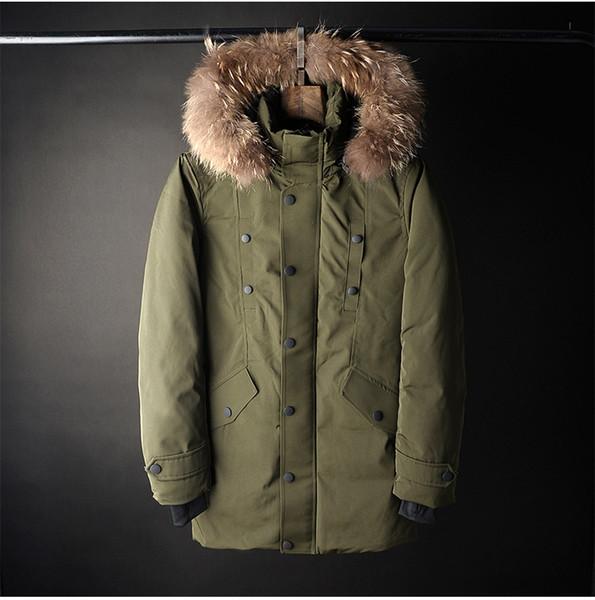 New Hooded Duck Down Jackets Thick Warm Winter Windproof Waterproof Jacket Men Long Coats Fur Hooded Outerwer Down Parkas Male