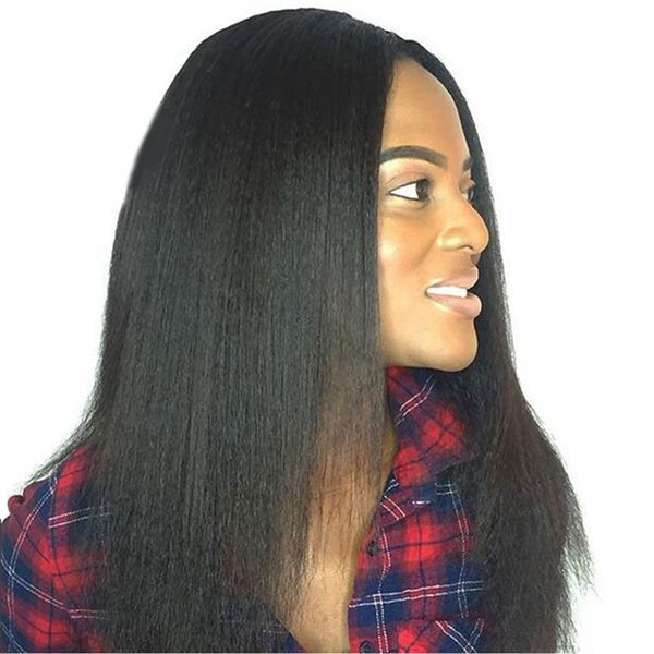 Beauty Malaysian 150% density Full Lace Human Hair Wigs Virgin Hair Yaki Straight Lace Front Wig Brazilian For Black Women natural color