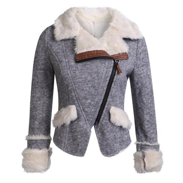 SX Kadınlar Gri Turn Down Yaka Lambswool giyim ince kış giyim sıcak karışımları kadın zarif ceket