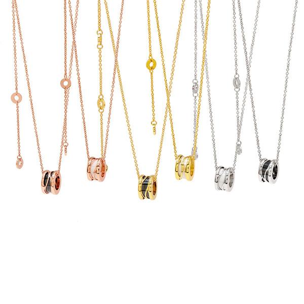 Lusso nero / bianco pendenti di ceramica Collane donne uomini Rose Oro / gioielli catena d'argento metallo Collana titanio color acciaio inox