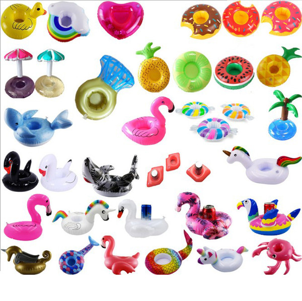 Cute Summer Inflatable Drinking Cup Holder Beverage Party Donut unicorn Flamingo Watermelon Pool Party Cup Holder Water Toys Pool Supplies